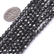 """Natural Round Faceted Black Hematite Healing Stone Seed Spacer Beads for Jewellery Making 15"""""""