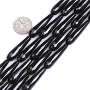 Long Drop Teardrop Faceted Natural Black Agate Beads for Jewellery Making 15""
