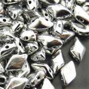 Czech Glass GemDuo Beads, 2-Hole Diamond Shaped Beads 5x8mm, 10 Grammes, Full Labrador Silver