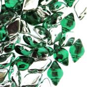 Czech Glass GemDuo Beads, 2-Hole Diamond Shaped Beads 5x8mm, 10 Grammes, Backlit Teal Green