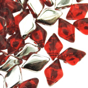 Czech Glass GemDuo Beads, 2-Hole Diamond Shaped Beads 5x8mm, 10 Grammes, Backlit Ruby Red