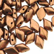 Czech Glass GemDuo Beads, 2-Hole Diamond Shaped Beads 5x8mm, 10 Grammes, Crystal Bronze Copper
