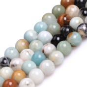 Round Mixed Colour Amazonite Stone Big Large Hole Beads for Jewellery Making 15""
