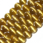 GEM-inside 10mm Round Khaki Light Brown Cat Eye Beads For Jewellery Making Loose Beads Strand 14 Inch