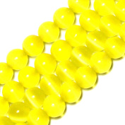 GEM-inside 10mm Round Yellow Cat Eye Beads For Jewellery Making Loose Beads Strand 14 Inch