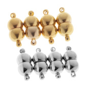 Baosity 8 PCS Gold/Silver Magnetic Clasps Jewellery Findings Connectors 18 x 8mm