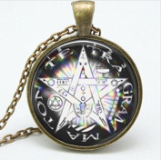 Vintage Art Glass Dome Necklace, Wiccan Pentagram Jewellery ,Easter Gift