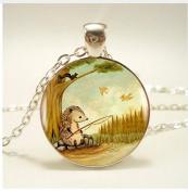 Cute Hedgehog Fishing Pendant Necklace ,Women Dress Jewellery