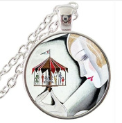 fashion necklace, vintage Jewellery ,Woman with Carousel Merry Go Round Art Pendant Necklace