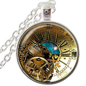 Teal Colours Steampunk Clock Pendant, Nebula Time Space necklace, Clock Astronomy Geek Not an Actual Clock jewellery