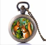 Vintage Squirrel Art Squirrel Pocket Watch Necklace, Woodland Animal Lover Gift