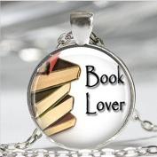 Book Necklace ,Book Lover Bookworms Librarian Art Pendant
