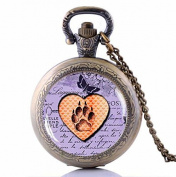 New Cat Paw Pocket Watch Necklace , Women Girl Best Friend Gift ,Cat lover Choker Bijoux