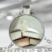 Book Page Necklace, Librarian Jewellery, Bibliophile Book Lover Art Pendant, Women Men Vintage Jewellery