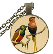Parrot jewellery bird necklace, glass cabochon pendant, animal long necklace,for birds lover jewellery