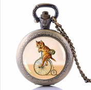 Retro Cat on Bicycle Choker Cat Hipster Bike Pocket Watch Necklace, lovers Bicycle lovers Gift