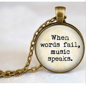 """Music Lover Quote Vintage Choker Necklace """"When words fail, music speaks."""" Statement Necklace Vintage Jewellery"""