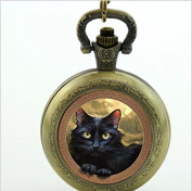 Cat Pocket Watch Necklace, Cat Quartz Pocket Watch Lovely Black Cat Jewellery ,for Lover Gift