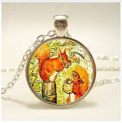 Squirrel art Pendant. jewellery. Birthday gift, glass Cabochon Pendant,Christmas Gift