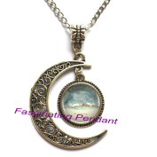 New Moon Necklace,Two Rabbit Dream Pendants & Necklace Silver Long Chain Necklace Jewellery For Women Best Friend Gift,AE0130