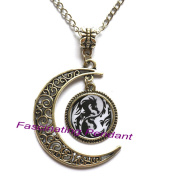 New Moon Necklace,Vintage Yin Yang Dragon Pendant Necklace Cabochon Long Black Chain Statement Necklace For Fashion Women/Men,AE0129