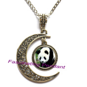New Moon Necklace,Big Panda Pendants Cabochon Sliver Long Chain Statement Necklace For Man Woman Fine Jewellery as Gifts,AE0126