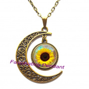New Moon Necklace,Whosale Sunflower necklace Yellow Sunflower pendant sunflower charm jewellery spring jewellery yellow flower,AE0106