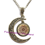 New Moon Necklace,new vintage round glass Henna tattoo flower necklaces pendants and necklaces India Henna mandala necklace women jewellery,AE0079
