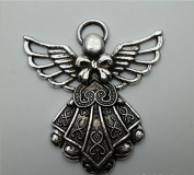 FYUE 30pcs Silver Alloy Tone Angel Charmsc Pendants