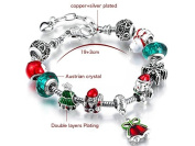 FYUE DIY Handmade Christmas Series Santa Claus Bell Alloy Large Hole Bead Bracelet