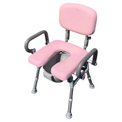 UltraCommode™ Voted #1 Most Comfortable Bedside Commode Chair- Soft, Warm, Padded and Foldable. XL Seat with 100% Open Front, Padded Pivoting Armrests, Adjustable Height. FREE Commode Pail.