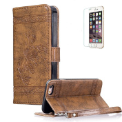 For iPhone 6 6S 12cm Cover [with Free Screen Protector],Funyye Premium Classic Vintage Embossed Wallet Case with [Wrist Strap] and [Credit Card Holder Slots] Stand Function Book Type Durable PU Leather Shell for iPhone 6 6S-Brown