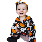 Momola Baby Girls Romper+Headband Clothes Set, Newborn Infant Pumpkin Print Halloween Clothes Outfit