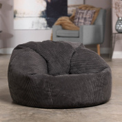 Luxury Jumbo Cord Bean Bag Snuggle Chair – SLATE GREY – Giant Luxury Beanbag Lounger Seat in Plush Retro Corduroy Fabric – Extra Large Bean Bags