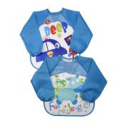 Skroad 2 Pack Baby Bibs, Kids Waterproof Long Sleeve Feeding Bibs with Long Sleeve, Unisex for 6 - 36 Months Infants / Toddlers - Deep Blue