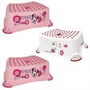 "Disney Minnie Mouse Baby Child & Toddler Step Stool THREE PACK 14cm/5.5"" Pink Strong Plastic 90kg/200lb Capacity Non Slip/Skid Safety Rubber Surface & Feet for Toilet/Potty Training Lightweight Portable"