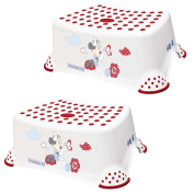 """Disney Minnie Mouse Baby Child & Toddler Step Stool TWO PACK 14cm/5.5"""" White/Red Strong Plastic 100kg Capacity Non Slip/Skid Safety Rubber Surface & Feet for Toilet/Potty Training Portable"""