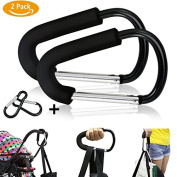 Emooqi 2 Pack D Shape Baby Stroller Hooks Shopping Bag Holder, Universal fit Mommy Hook Pushchair Stroller Clip Hook Accessories For Hanging Nappy & Shopping Bags & Purses, Black