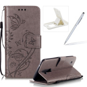 Strap Case for LG K10,Wallet Leather Cover for LG K10,Herzzer Classic Elegant [Grey Butterfly Pattern] PU Leather Fold Stand Card Holders Smart Phone Case for LG K10 + 1 x Free White Cellphone Kickstand + 1 x Free White Stylus Pen