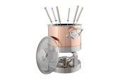 Mauviel 18 cm/ 2.5L M'Heritage150 Copper Fondue Set and Glass Lid with Stainless Steel Handle