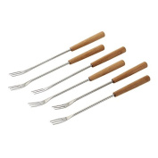Kuhn Rikon Bamboo Cheese Fondue Forks, Stainless Steel, Silver/Brown, 6-Piece