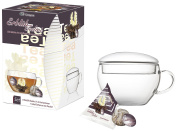 Creano Abloom-Tealini 8 Piece Flowering, Blooming Flavoured Cup Sized Black Tea with Glass-Tea Cup Gift Set