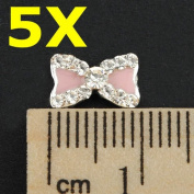 5pcs Rhinestone Pink Bow Bowknot Nail Design Decorations