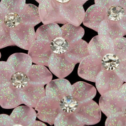 10 Pink Glitter 3D Flower Rhinestones Nail Art Decorations
