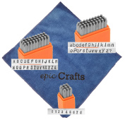 Metal Letter Stamp Set with Basic Sans Serif Uppercase, Lowercase and Numbers Bundled with Epic Craft Microfiber Cloth