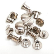 10 Pack 0.6cm Silver Nickel Plated Brass Chicago Screws