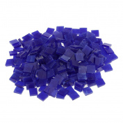 Fityle 250 Pieces Many Colour Square Glass Mosaic Tiles For Mosaic Making Craft - Dark blue