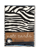 Canvas Corp Packaged Note Cards with Envelopes, Black and White Zebra, 10cm x 14cm , Pack of 8