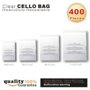 400 Pcs Clear Resealable Cello/cellophane Bags Combo Pack - 15cm x 23cm , 20cm x 25cm , 23cm x 30cm , 28cm x 36cm with Suffocation Warning by PMLAND