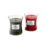 WoodWick Hourglass Scented Candles, Cinnamon Cheer & Frasier Fir, Two Candle Gift Box Set, Medium 290ml Each, 10cm
